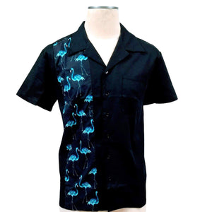 GGR Men's Bowling Shirt with Blue Flamingo Panel-Men's Bowling Shirt-Glitz Glam and Rebellion GGR Pinup, Retro, and Rockabilly Fashions