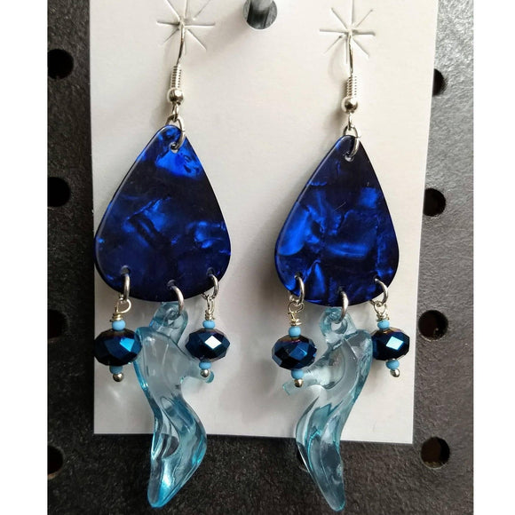 Aye Que Chula Blue Guitar Pick Earrings-Earrings-Glitz Glam and Rebellion GGR Pinup, Retro, and Rockabilly Fashions