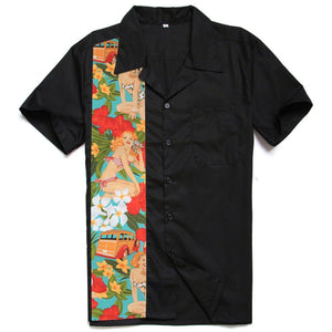 GGR Men's Bowling Shirt in Black with Retro Beach Babes Panel-Men's Bowling Shirt-Glitz Glam and Rebellion GGR Pinup, Retro, and Rockabilly Fashions
