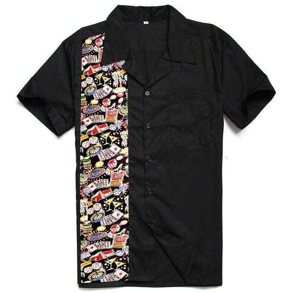 GGR Men's Bowling Shirt in Poker Night Print-Men's Bowling Shirt-Glitz Glam and Rebellion GGR Pinup, Retro, and Rockabilly Fashions
