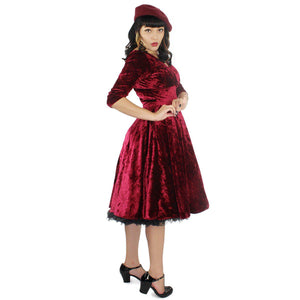 Hemet Holiday Burgundy Velvet Circle Dress-Dress-Glitz Glam and Rebellion GGR Pinup, Retro, and Rockabilly Fashions