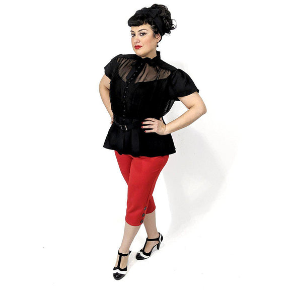 GGR Chiffon Button Blouse in Black-Blouse-Glitz Glam and Rebellion GGR Pinup, Retro, and Rockabilly Fashions