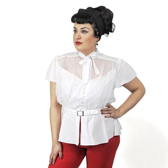 update alt-text with template GGR Chiffon Button Blouse in White-Blouse-Glitz Glam and Rebellion GGR Pinup, Retro, and Rockabilly Fashions