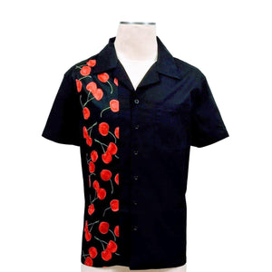 GGR Men's Bowling Shirt in Black with Cherry Print Panel-Men's Bowling Shirt-Glitz Glam and Rebellion GGR Pinup, Retro, and Rockabilly Fashions