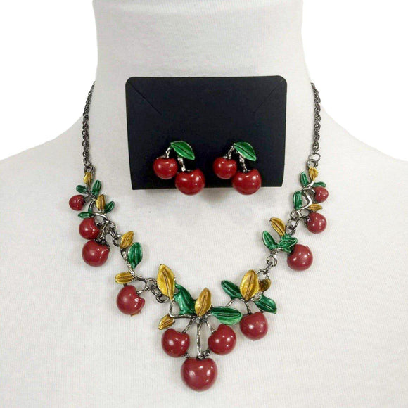 GGR Jewelry Necklace and Earring Set of Cherries with Leaves-Jewelry-Glitz Glam and Rebellion GGR Pinup, Retro, and Rockabilly Fashions