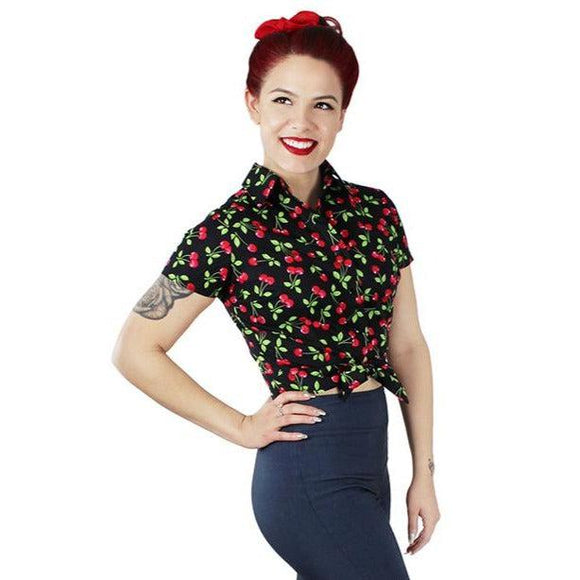Hemet Knotted Top in Cherries on Black-Top-Glitz Glam and Rebellion GGR Pinup, Retro, and Rockabilly Fashions
