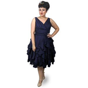 GGR Flounce Dress in Navy-Dress-Glitz Glam and Rebellion GGR Pinup, Retro, and Rockabilly Fashions