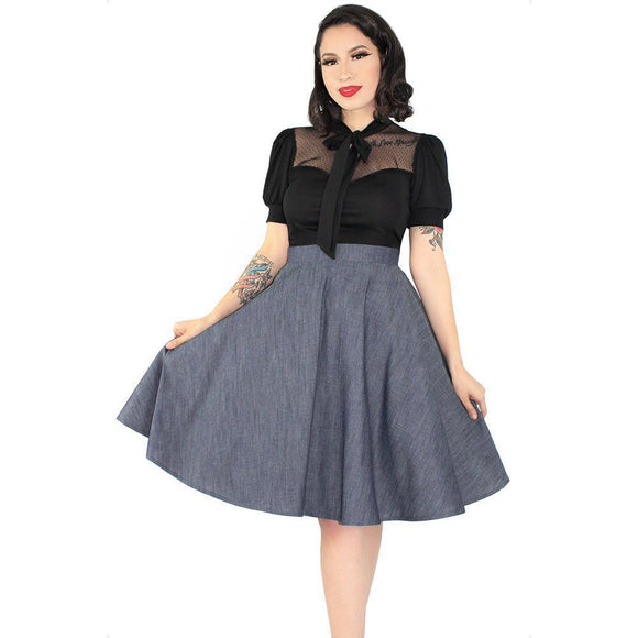 Hemet Circle Skirt in Denim-Skirts-Glitz Glam and Rebellion GGR Pinup, Retro, and Rockabilly Fashions