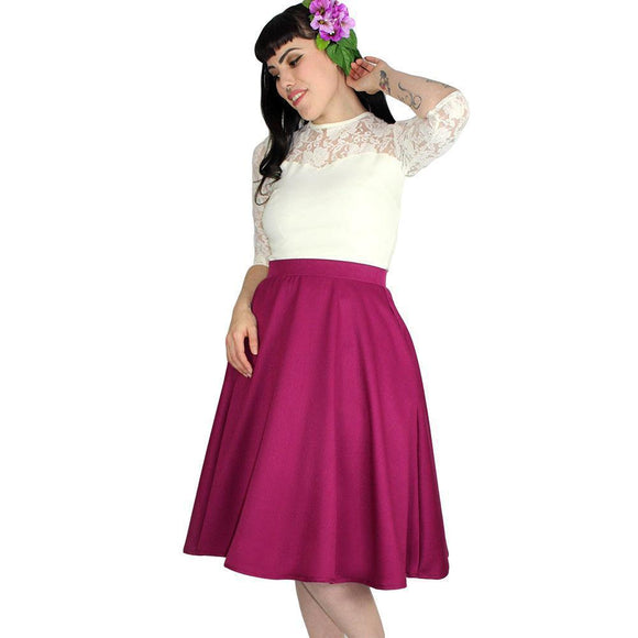 Hemet Circle Skirt in Fuchsia-Skirts-Glitz Glam and Rebellion GGR Pinup, Retro, and Rockabilly Fashions