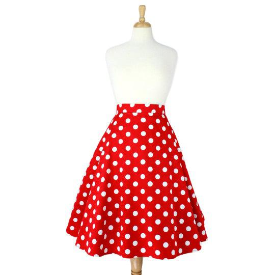 Hemet Circle Skirt in Red & White Polka Dots-Skirts-Glitz Glam and Rebellion GGR Pinup, Retro, and Rockabilly Fashions