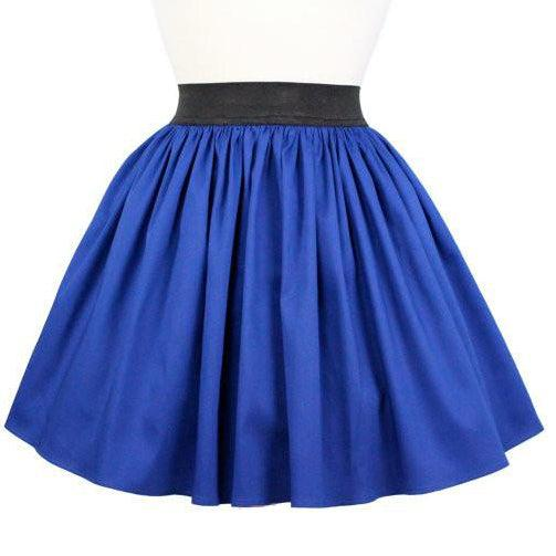 Hemet Pleated Skirt in Cobalt Blue-Skirts-Glitz Glam and Rebellion GGR Pinup, Retro, and Rockabilly Fashions