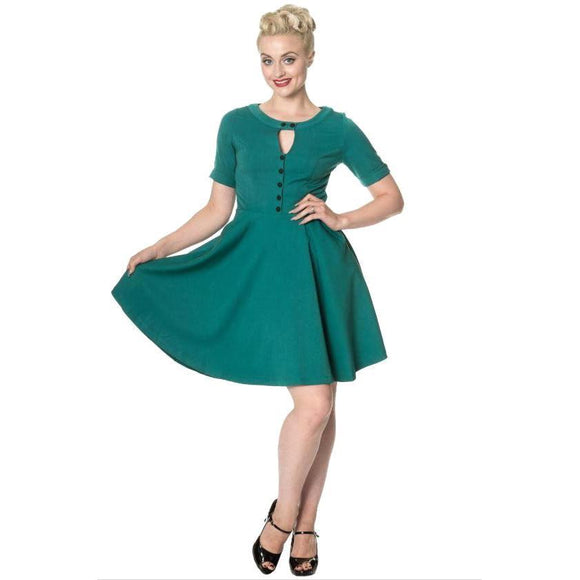 Banned Don't Be Late Swing Dress in Green-Dress-Glitz Glam and Rebellion GGR Pinup, Retro, and Rockabilly Fashions