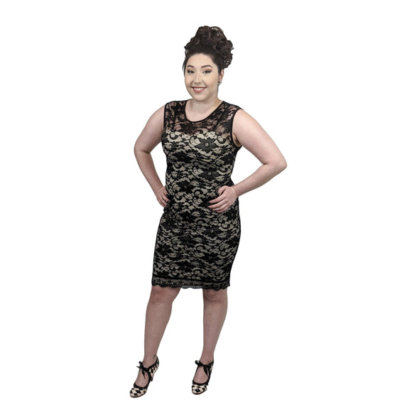 GGR Elegant Floral Lace Wiggle Dress-Wiggle Dress-Glitz Glam and Rebellion GGR Pinup, Retro, and Rockabilly Fashions