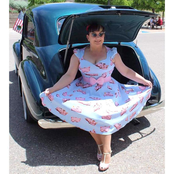 H&R London Pink Cadillac on Blue Swing Dress-Dress-Glitz Glam and Rebellion GGR Pinup, Retro, and Rockabilly Fashions