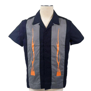 GGR Men's Bowling Shirt with Flaming Orange Panels-Men's Bowling Shirt-Glitz Glam and Rebellion GGR Pinup, Retro, and Rockabilly Fashions