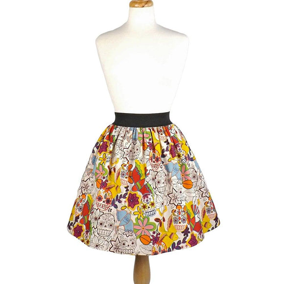 Hemet Pleated Skirt in Skull Folklorico Print-Skirts-Glitz Glam and Rebellion GGR Pinup, Retro, and Rockabilly Fashions