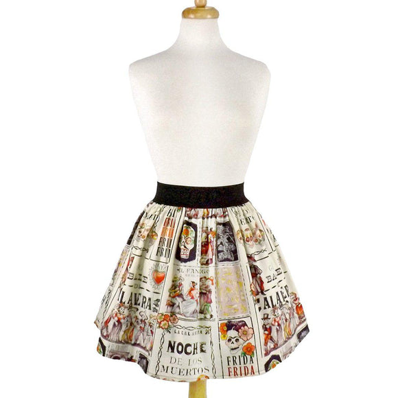 Hemet Pleated Skirt in Frida Noche de Baile Print-Skirts-Glitz Glam and Rebellion GGR Pinup, Retro, and Rockabilly Fashions