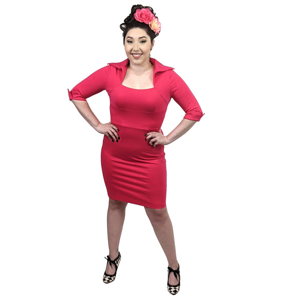 GGR Pretty In Pink Wiggle Dress-Wiggle Dress-Glitz Glam and Rebellion GGR Pinup, Retro, and Rockabilly Fashions