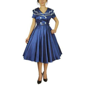 GGR Sailor Dress in Navy Blue-Dress-Glitz Glam and Rebellion GGR Pinup, Retro, and Rockabilly Fashions