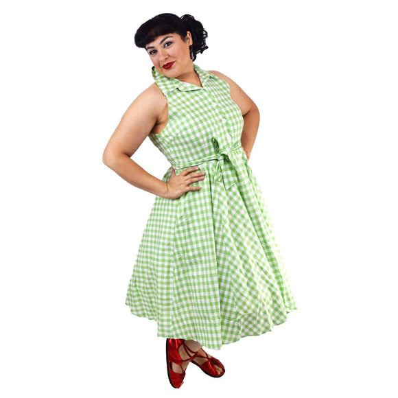 GGR June Shirtdress in Green Gingham-Dress-Glitz Glam and Rebellion GGR Pinup, Retro, and Rockabilly Fashions