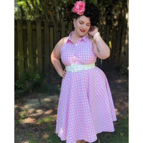 GGR June Shirtdress in Pink Gingham-Dress-Glitz Glam and Rebellion GGR Pinup, Retro, and Rockabilly Fashions