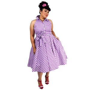 GGR June Shirtdress in Purple Gingham-Dress-Glitz Glam and Rebellion GGR Pinup, Retro, and Rockabilly Fashions