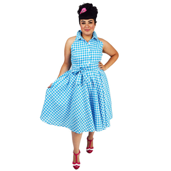 GGR June Shirtdress in Blue Gingham-Dress-Glitz Glam and Rebellion GGR Pinup, Retro, and Rockabilly Fashions