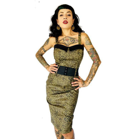 GGR Darling Wiggle in Olive Leopard-Wiggle Dress-Glitz Glam and Rebellion GGR Pinup, Retro, and Rockabilly Fashions