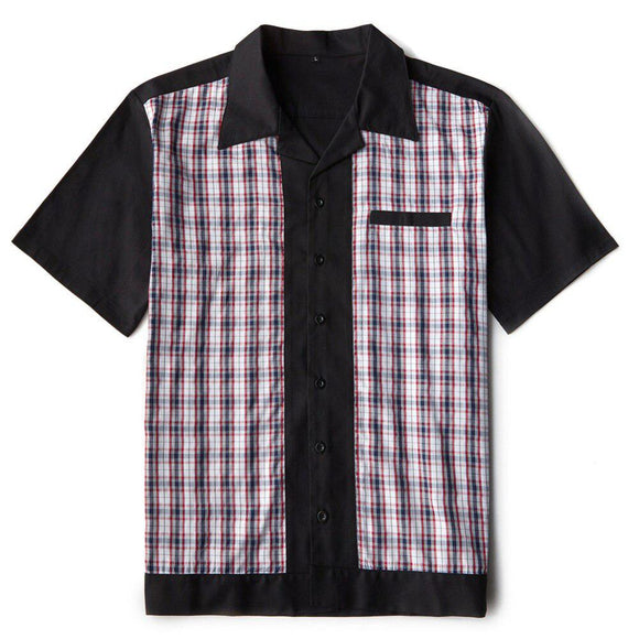 GGR Men's Bowling Shirt in Black with Red Plaid Panels-Men's Bowling Shirt-Glitz Glam and Rebellion GGR Pinup, Retro, and Rockabilly Fashions