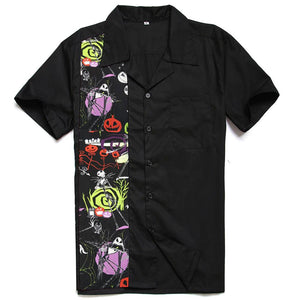 GGR Men's Bowling Shirt in Halloween Print-Men's Bowling Shirt-Glitz Glam and Rebellion GGR Pinup, Retro, and Rockabilly Fashions