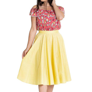 Hell Bunny Paula 50's Skirt in Yellow-Skirts-Glitz Glam and Rebellion GGR Pinup, Retro, and Rockabilly Fashions