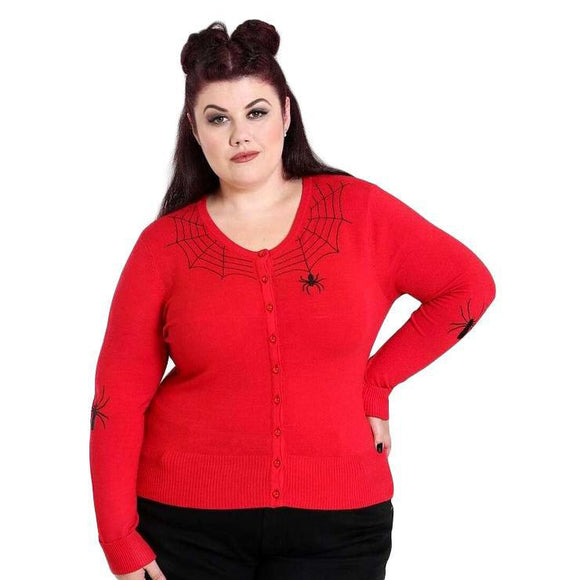 Hell Bunny Spider Cardigan in Red-Cardigan-Glitz Glam and Rebellion GGR Pinup, Retro, and Rockabilly Fashions