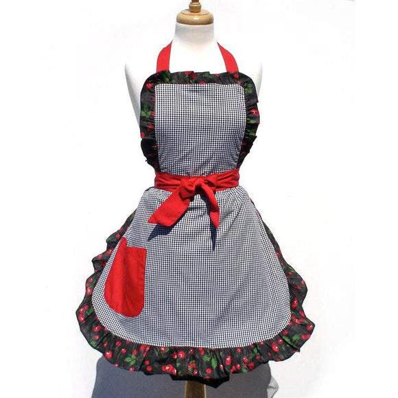 Hemet Gingham & Cherries Apron-Pinup Aprons-Glitz Glam and Rebellion GGR Pinup, Retro, and Rockabilly Fashions