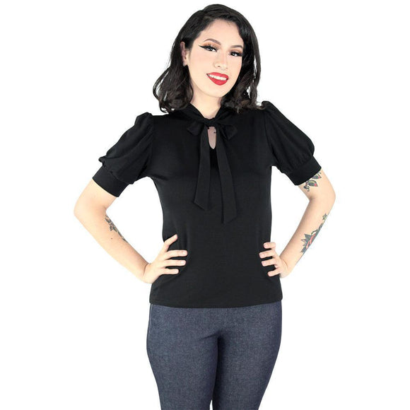 Hemet Tie-Neck Blouse in Black-Top-Glitz Glam and Rebellion GGR Pinup, Retro, and Rockabilly Fashions