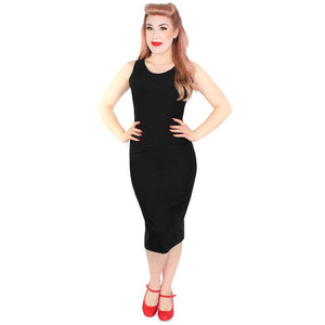 Hemet Audrey Wiggle Dress in Black-Dress-Glitz Glam and Rebellion GGR Pinup, Retro, and Rockabilly Fashions