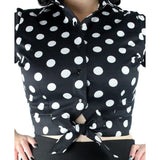 Hemet Knotted Top in Black & White Polka Dots-Top-Glitz Glam and Rebellion GGR Pinup, Retro, and Rockabilly Fashions