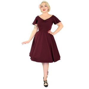 Hemet Butterfly Swing Dress in Burgundy-Dress-Glitz Glam and Rebellion GGR Pinup, Retro, and Rockabilly Fashions