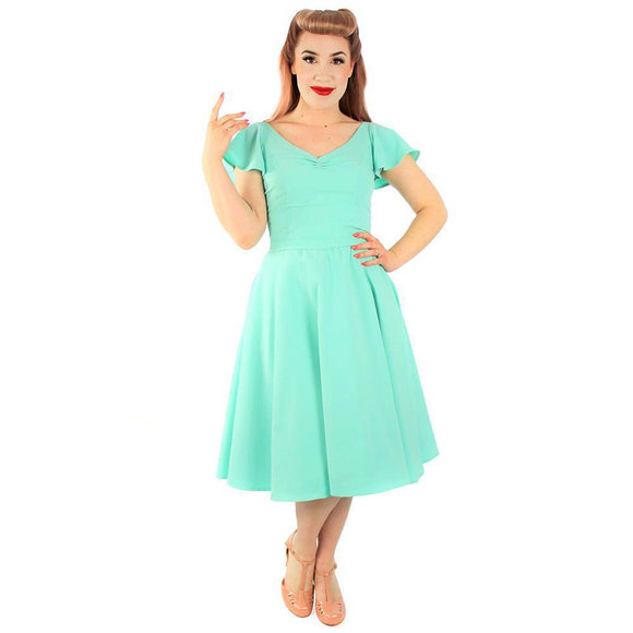 Hemet Butterfly Swing Dress in Mint Green-Dress-Glitz Glam and Rebellion GGR Pinup, Retro, and Rockabilly Fashions