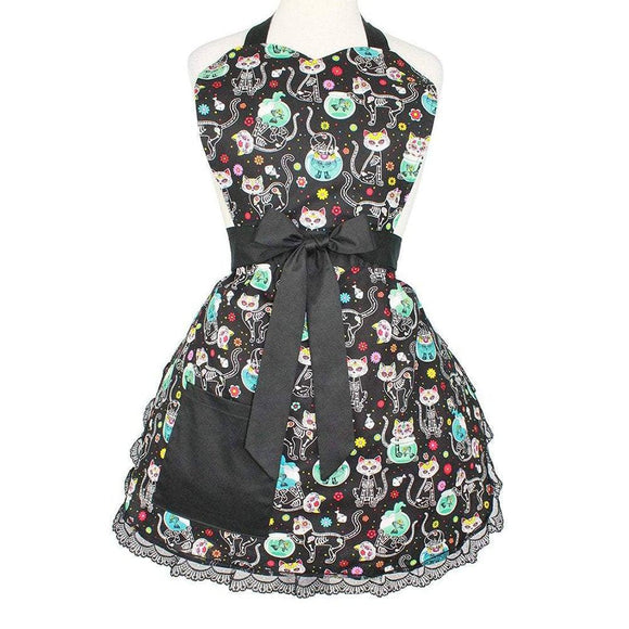 Hemet Kitty Day of the Dead Apron-Pinup Aprons-Glitz Glam and Rebellion GGR Pinup, Retro, and Rockabilly Fashions