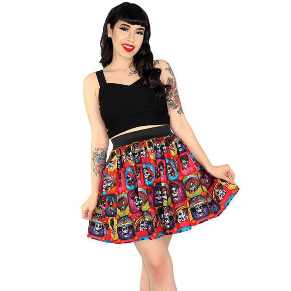 Hemet Pleated Day of the Dead Skirt in Catrinas-Skirts-Glitz Glam and Rebellion GGR Pinup, Retro, and Rockabilly Fashions