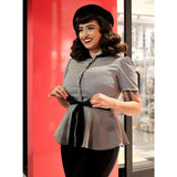 Hemet Ribbon Belt Peplum Top in Houndstooth-Top-Glitz Glam and Rebellion GGR Pinup, Retro, and Rockabilly Fashions