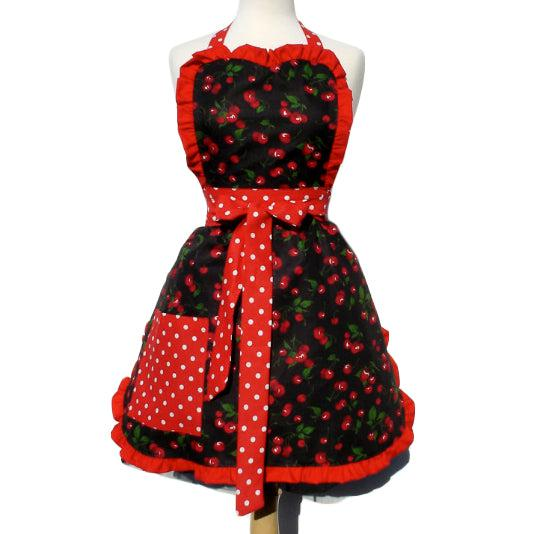 Hemet Ruffled Cherries Apron on Black-Pinup Aprons-Glitz Glam and Rebellion GGR Pinup, Retro, and Rockabilly Fashions