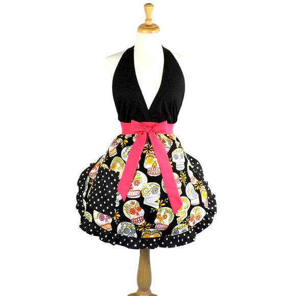Hemet Sugar Skulls Apron-Pinup Aprons-Glitz Glam and Rebellion GGR Pinup, Retro, and Rockabilly Fashions