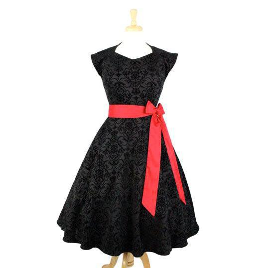 Hemet Black Damask Swing Dress-Dress-Glitz Glam and Rebellion GGR Pinup, Retro, and Rockabilly Fashions
