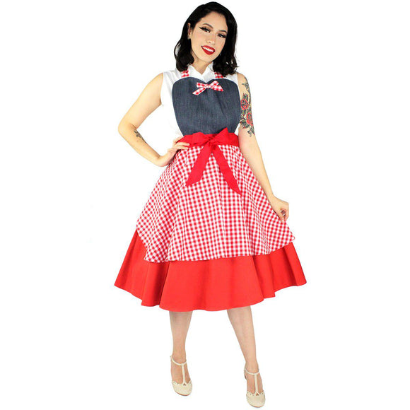 Hemet Denim Gingham Apron-Pinup Aprons-Glitz Glam and Rebellion GGR Pinup, Retro, and Rockabilly Fashions