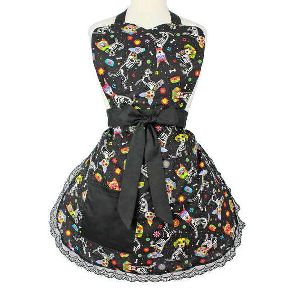 Hemet Dog Day of the Dead Apron-Pinup Aprons-Glitz Glam and Rebellion GGR Pinup, Retro, and Rockabilly Fashions