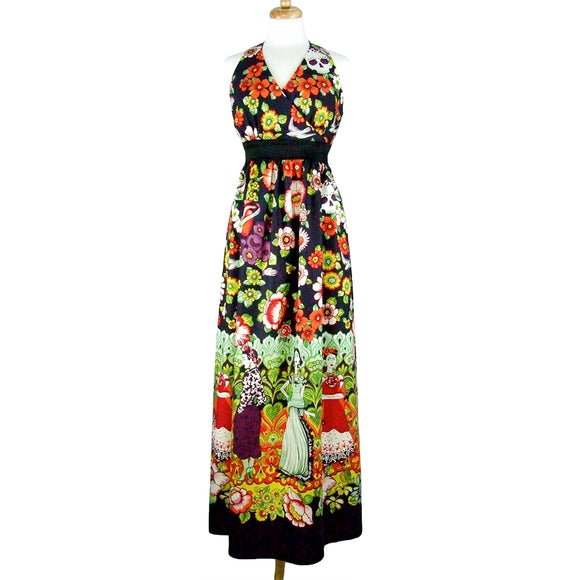 Frida Day of the Dead Maxi Halter Dress-Halter Dress-Glitz Glam and Rebellion GGR Pinup, Retro, and Rockabilly Fashions