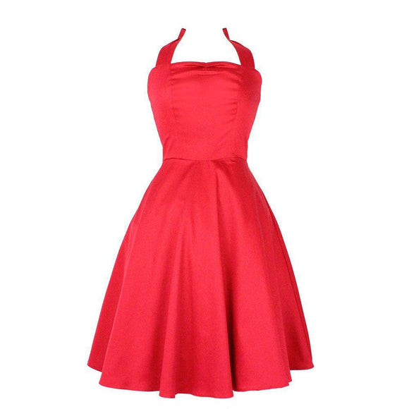 Hemet Halter Swing Dress in Red-Dress-Glitz Glam and Rebellion GGR Pinup, Retro, and Rockabilly Fashions