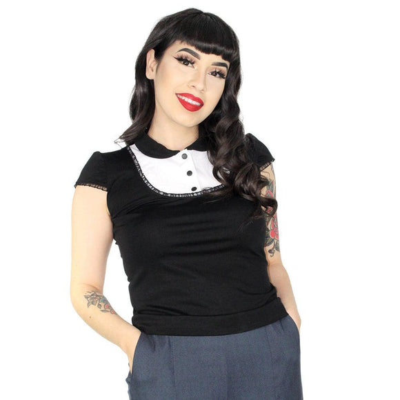 Hemet Good Girl Modest Top in Black & White-Top-Glitz Glam and Rebellion GGR Pinup, Retro, and Rockabilly Fashions