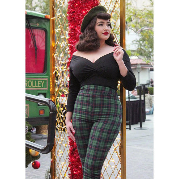 Hemet High Waist Cigarette Pants in Green & Navy Plaid-Pants-Glitz Glam and Rebellion GGR Pinup, Retro, and Rockabilly Fashions